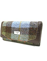 7c42bf094c4 Harris Tweed Ladies 100% Green Tartan Long  Bute  Purse with Zip and  Cardholder - Made in Scotland by Glen Appin…