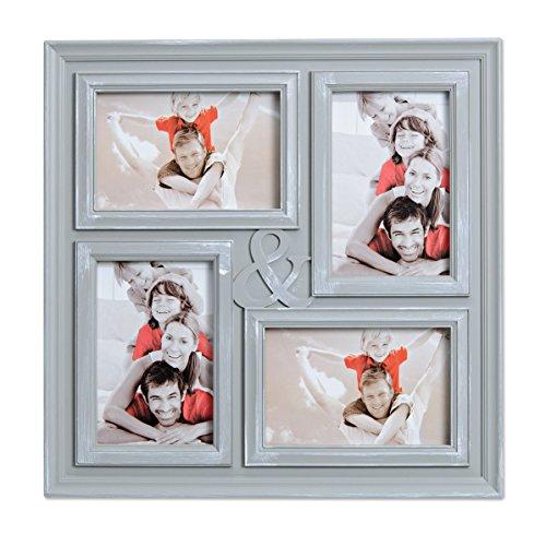 WoMa Bilderrahmen Fotocollage in 2 Designs mit Echt Glas - 4 Fotos á 10 x 15 cm - Collage Für Deine Ganz Persönliche Bildergalerie - Bilder Rahmen in Grau/Silber (4 X Design 4)