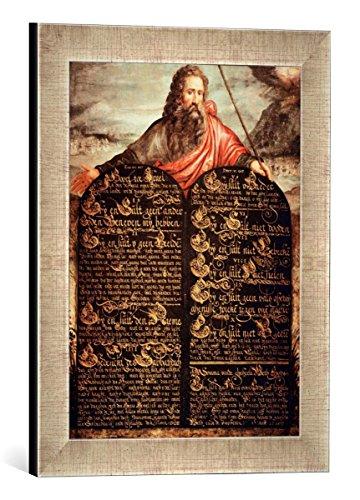Gerahmtes Bild von AKG Anonymous Zehn-Gebote-Tafel, Kunstdruck im hochwertigen handgefertigten Bilder-Rahmen, 30x40 cm, Silber raya