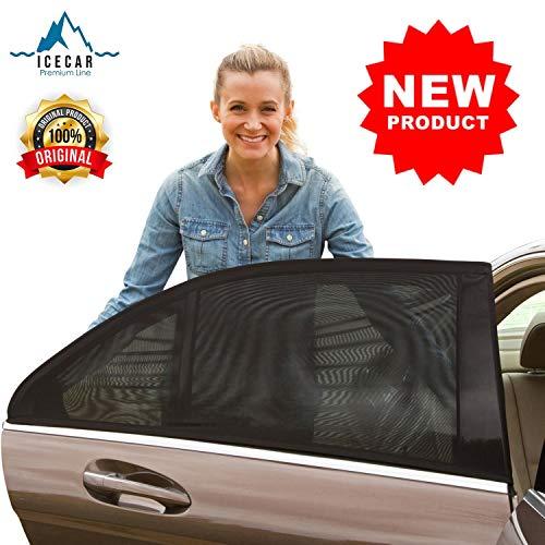 ICECAR - 2 Pezzi - Tendine Parasole Auto Bambini Originali  Nuovo Tessuto 130g/m²  Tessuto Premium Royal Stretch 2019 - Protezione Bambini, Raggi solari UV, Insetti, Privacy