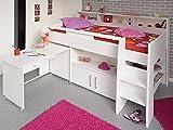 expendio Hochbett, Kinderbett Sway 1B, 211x132x130cm weiß Kinderzimmer Bett Schreibtisch