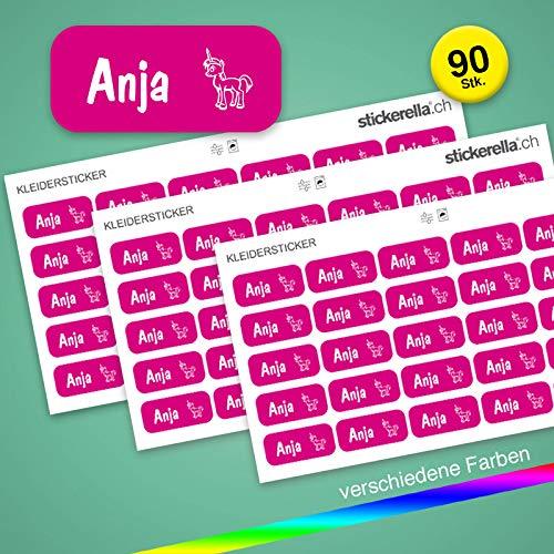 Stickerella - 90 Namensaufkleber für Kinder - Namensetiketten für Schule und Kindergarten, personalisierbar, permanent, wasserfest (11 x 26 mm) (magenta)