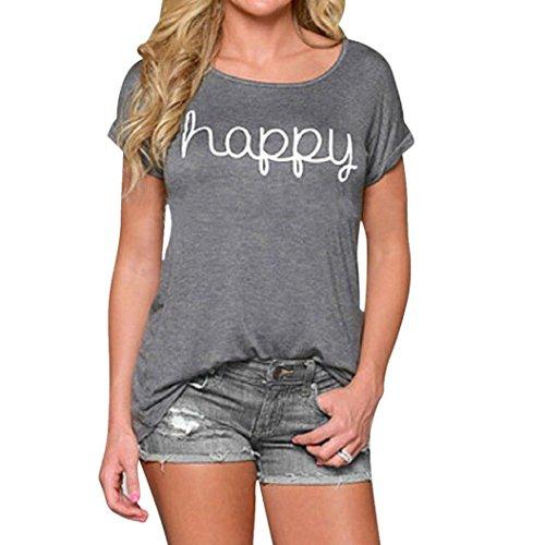 Sunnywill Frauen verlieren glücklich Kurzarm Bluse lässige Weste Tops T-Shirt drucken für Mädchen Damen (Up Für Mädchen Halloween Pin)