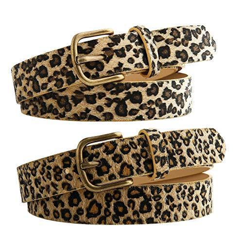 falllea 2 Piezas de Patrón de Leopardo Cinturón Cinturones Estampado de Leopardo de Aleación de Hebilla Correa de Cintura de Leopardo de la PU de los pantalones vaqueros para mujeres