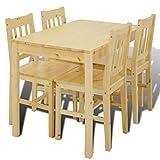 vidaXL Mesa de Comedor con 4 sillas de Madera, Color Natural