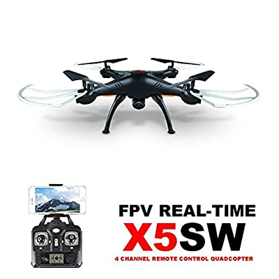 Syma X5SW(better than X5C)4CH 2.4G 6-Axis Gyro Headless Support Mobile Phone Apple IOS Android Wi-Fi Wifi Control FPV HD Camera 360-degree 3D Rolling Mode 2 RTF RC Quadcopter Black with 3PCS BATTERIES AND 4IN1 Charger