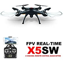 Syma X5SW(better than X5C)4CH 2.4G 6-Axis Gyro Headless Support Mobile Phone Apple IOS Android Wi-Fi Wifi Control FPV HD 2.0MP Camera 360-degree 3D Rolling Mode 2 RTF RC Quadcopter with HD camera,2*extra batteries and 4in1 charger(Black)