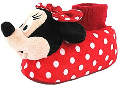 New Girls/Childrens Red/Black Novelty Minnie Mouse 3D Head Slippers - Red/Black - UK SIZE 13