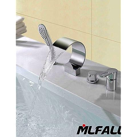 Quatre trous contemporain Mlfalls Laiton à montage sud pont chromées Cascade salle de bains avec douche à main taps