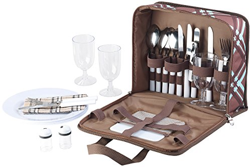 Xcase Picknicktasche: 30-teiliges Picknick-Set für 4 Personen, inkl. Tasche, Teller, Gläser (Picknick Besteck)