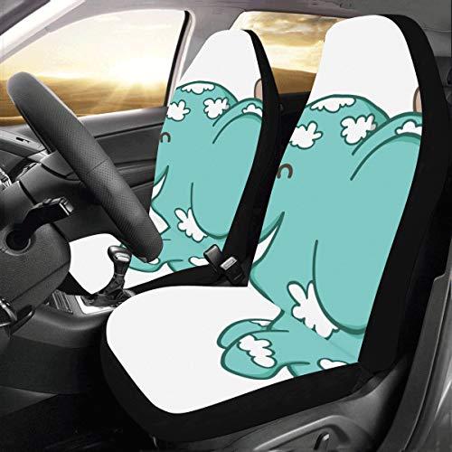 Funda de cojín de coche Un lindo bebé elefante flotante Universal Fit Auto Fundas de asiento de automóvil Protector para auto camión Suv Vehículo Mujer Señora (2 delanteras) Fundas de asiento de luj