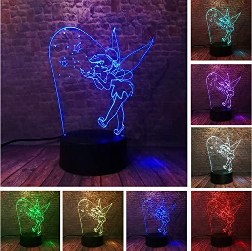 Cartoon 3D Selten Peter Pan Fee Tinker Bell Schneeflocke Tinkerbell Prinzessin 7 Farbwechsel Action Figure RGB Nachtlicht Kind GIF -