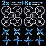2stücke Tiny 8mm Whoop Rahmen für Inductrix FPV Plus Micro FPV Racing Quadcopter Whoop Rahmen Kit w / 8 stücke 40mm Propeller für 8,0x20mm Gebürstetem Kernlosen Motor (klar)