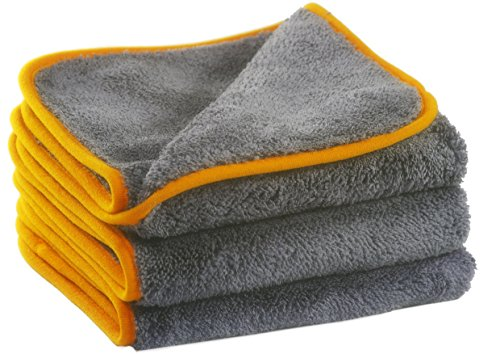 Preisvergleich Produktbild Glart 443TPO Premium Flausch 3er Set Mikrofasertücher, ultraweich für perfekte Auto Lackpflege, Poliertuch, Trockentuch, anthrazit-orange 40 x 40 cm