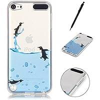 Silikonhülle für iPod Touch 5G / 6G, Hancda TPU Durchsichtig Handyhülle Transparent Soft Ultra Slim Muster Schutzhülle Case Silikon Klar Clear Cover für iPod Touch 5G / 6G - Schöne Pinguine