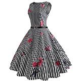 ITISME Damen Kleider Sommer Holiday Striped Taschen-Kurzschluss-Hülsen-Boden-Längen-Kleid-Lose Partei-Kleid (XL, Schwarz)
