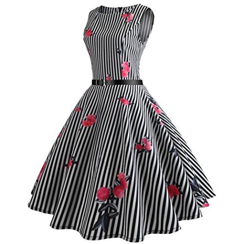 Holiday Damen Tasche (ITISME Damen Kleider Sommer Holiday Striped Taschen-Kurzschluss-Hülsen-Boden-Längen-Kleid-Lose Partei-Kleid (L, Schwarz))