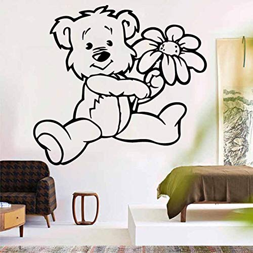 Autoadesivo della parete del fiore dell'orso del fumetto per la camera dei bambini neonati camera da letto decorazione della casa arte decalcomanie della parete del vinile adesivi murali108.5X99.75 cm