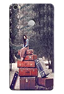 Omnam Girl Sitting On Many Suitcases Or Sandook Printed Designer Back Case For Xiaomi Mi Max