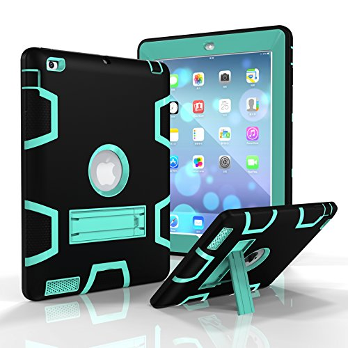 iPad 2/3/4Fall, dooge Drei Schichten PC & Silikon Armor Defender Heavy Duty Dämpfung Robuste Hybrid Full Body Schutzhülle mit Ständer für Apple iPad 2/iPad 3/iPad 4, Black+Aqua