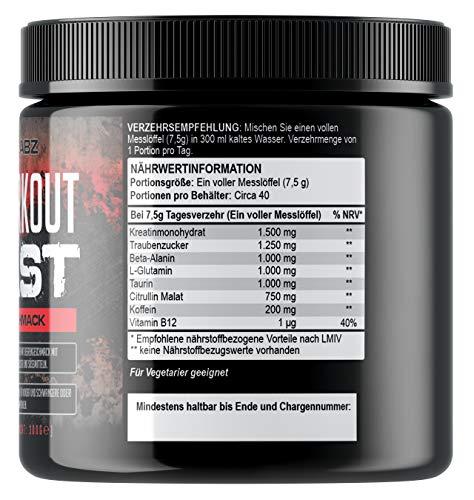Pre Workout Beast (Beerengeschmack) – 40 Portionen (300g) – Hardcore Pre Workout Booster mit Kreatin Monohydrat, Koffein, Beta Alanin und Glutamin