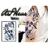 """Artist Temporary Tattoo (water transfert) """"Tête de Mort & Oiseaux"""" - ArtWear Tattoo Skull - B0050 M"""