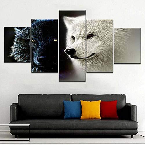 Kent Bailey hd - gedruckte Moderne Einrichtung leinwand Salon 5 Panel gelbe Augen Zwei Wolf Bild Mauer Kunst modulare Poster - Bilder -