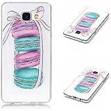 Qiaogle Téléphone Coque - Soft TPU Silicone Housse Coque Etui Case Cover pour Samsung Galaxy A3 (2016) SM-A310 (4.7 Pouce) - XS13 / Pink bowknot + Gâteau