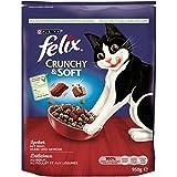 Felix Crunchy & Soft Katzentrockenfutter mit Rind, Huhn und Gemüsezugabe, 4er Pack (4 x 950 g)