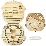 Zahnbox Milchzahndose Milchzähne Zahndose Aufbewahrungsbox Holz Haar Zähne Box Kasten in Deutsch Version Geschenk für Kinder, Mädchen