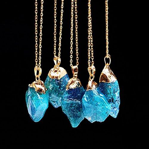 ILOVEDIY Collier Cristal de Roche Femme chaîne en Or Quartz Ras de Cou Pendentif Difforme Pierre Reiki Chakra Healing bleu lac