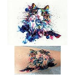 Tatuajes de gatos temporales tatoo falso –acuarela de gato