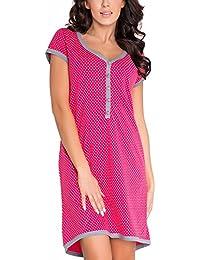 Dn-Nightwear TM.5038 Hermoso Camisón Maternal A Topos - Hecho En La UE