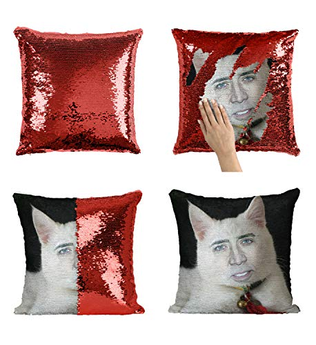 age White Cute Cat Kissen, Sequin Pillow, Mermaid Pillow, Reversible Pillow, Magic Pillow Kissen, Kissenbezug, Funny Pillow, Birthday Present, Meme (with Insert) ()