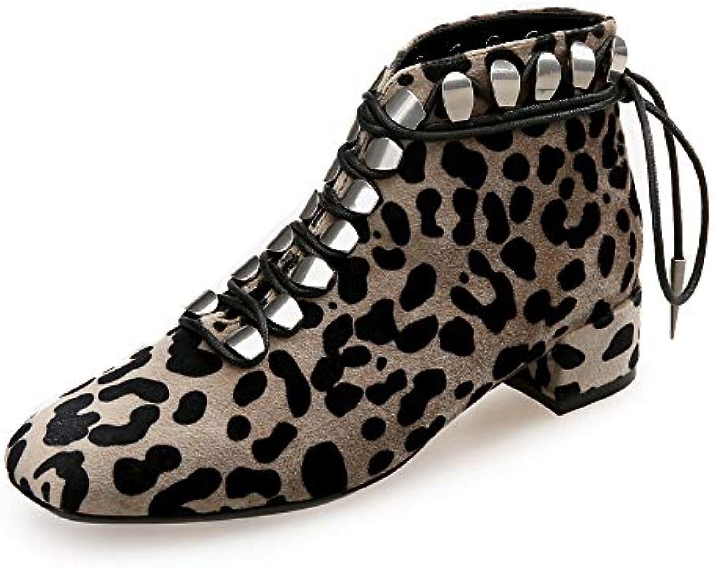 ZYT Femme Mode Bottes Daim Daim Bottes Automne Hiver British Bottes Block Heel Bout Carré Léopard/Soirée & EvéneHommes t,US6.5B07JMWFKF8Parent 12a942
