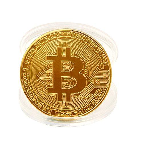 TWIFER Gold überzogene Bitcoin Münze Sammlerstück BTC Münze Kunst Sammlung Physikalisch (38mm, Gold) - 4