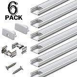 Profilo in Alluminio U-Figura - 6pz Profilo LED per Strisce LED,Compatto Finitura Professionale a Alluminio LED con Tappo laterale terminale ,Clip di montaggio,Copertura Opale