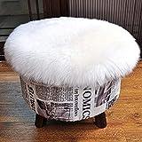 DAOXU Tappeto in pelle di pecora artificiale, di alta qualità, ideale come scendiletto (bianco, 45x45CM)