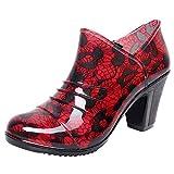 Alaso Bottines de Pluie Femme Bottes en Caoutchouc de Sécurité Dames Chunky Plateforme Motif Fleur Chaussures d'extérieur Imperméable Rainboots...