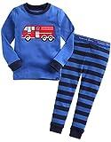 Vaenait baby 74-122 Saeugling Jungen Bekleidung Langarm Zweiteilig Schlafanzug Niedlich Fire Truck M