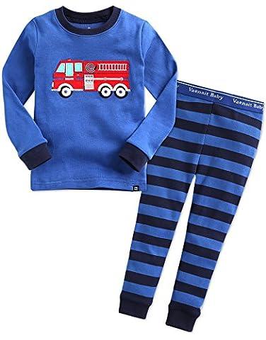 Vaenait Baby Kinder Langarm zweiteilige Schlafanzug Set Fire Truck S