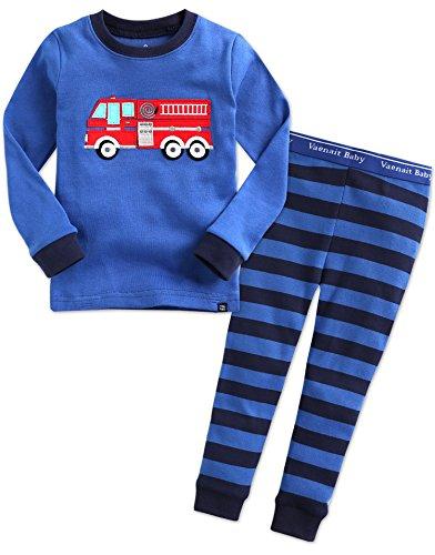 Vaenait Baby Säugling Kinder Langarm zweiteilige Schlafanzüge Set Fire Truck M