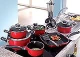 Rotes Koch-Topf-Set 17-teilig aus Aluguss (Antihaftbeschichtung, Kochgeschirrset mit Deckel, Kunststoff-Griffe)