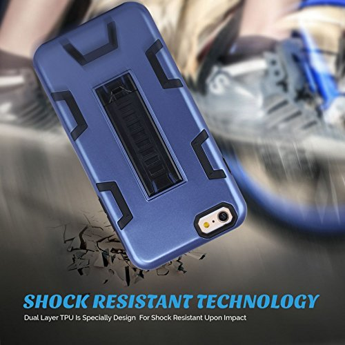 """HYAIT® For APPLE IPHONE 6 PLUS 5.5""""Case[C72][METAL][COLOR LINE][Holder] TPU+PC Premium Hybrid Shockproof Kickst Bumper Full-body Rugged Dual Layer Stents Cover-RED&BLACK IPHONE 6 5.5-C72-BLUE&BLACK"""