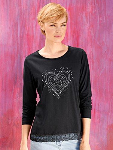 Damen Shirt mit Spitzensaum by KLiNGEL Schwarz