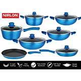 Forged Aluminium Non-Stick Cookwares Set With Tempered Glass Lid Induction Friendly 7 Piece Cookware Combo Gift Set | Non-Stick Resistant Pots And Pans Set | Non-Stick Induction Utensils | Sauce Pan 1.6ltr | Deep Casserole With Glass Lid 3.758ltr | 3 Pcs