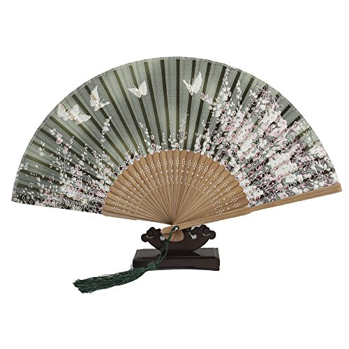 Bambus Holz Seide Falten Fan, Chinesisch / Japanisch Vintage Retro Style Handgefertigte Seide Schwarz Hand Fan mit einem Stoff Ärmel und Quasten für Home Decoration Party Hochzeit Tanze (Green) (Schwarz-stoff-quaste)