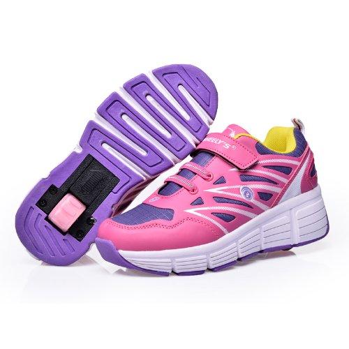 Zapatillas con ruedas automáticas para niños - Transpirables - Mod. 101 - Rosa - Talla 34