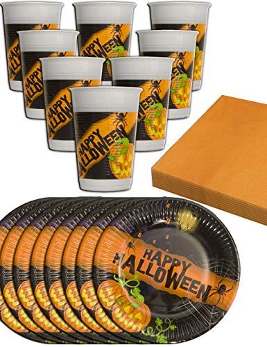 HomeTools.eu® - Happy Halloween Party Geschirr Set | 8 Becher, 8 Teller, 20 Servietten | 36-teilig