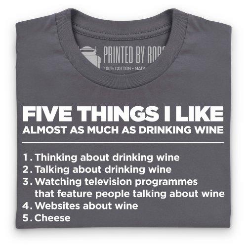 Five Things I Like - Wine T-Shirt, Herren Anthrazit